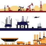 Ensemble de paysage d'industrie énergétique de pétrole et de gaz illustration stock