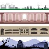 Ensemble de paysage de catacombes et de cimetière de tombe de cimetière illustration stock