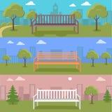 Ensemble de paysage urbain urbain avec le banc en parc illustration libre de droits