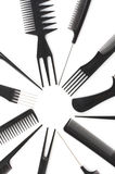 Ensemble de peignes, accessoires de coiffure Photographie stock