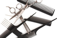 Ensemble de peignes et de ciseaux, accessoires de coiffure Photos stock