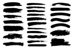 Ensemble de peinture noire, course grunge de brosse d'encre Éléments artistiques sales de conception Photo libre de droits