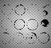 Ensemble de peinture noire, course ronde à l'encre noire dessus sur le fond transparent illustration de vecteur
