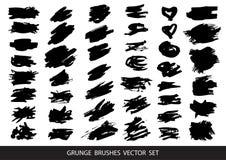 Ensemble de peinture noire, courses de brosse d'encre, brosses, lignes ?l?ments artistiques sales de conception, bo?tes, cadres p illustration libre de droits