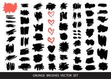 Ensemble de peinture noire, courses de brosse d'encre, brosses, lignes ?l?ments artistiques sales de conception, bo?tes, cadres p illustration de vecteur