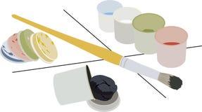 Ensemble de peintures de gouache dans les boîtes et la brosse Images stock