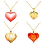 Ensemble de pendants avec les pierres précieuses sous forme de coeur Photo libre de droits