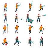Ensemble de People Isometric Icons de mineur Photographie stock libre de droits