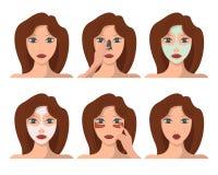 Ensemble de personnage féminin ayant des procédures de station thermale de visage Image libre de droits