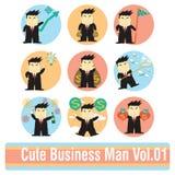 Ensemble de personnages de dessin animé d'homme d'affaires Image libre de droits