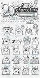 Ensemble de 20 personnages de dessin animé tirés par la main de griffonnage de vecteur Images libres de droits