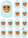 Ensemble de personnes arabes d'avatar différent dans le style plat coloré illustration libre de droits