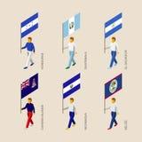 Ensemble de personnes 3d isométriques avec des drapeaux des pays des Caraïbes Photographie stock