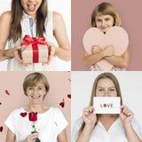 Ensemble de personnes de diversité avec le collage de studio d'amour de coeur Images stock