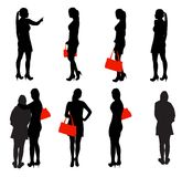 Ensemble de personnes de silhouette. Illustration de vecteur. Image stock