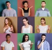 Ensemble de personnes diverses confuses aux milieux de studio Photographie stock