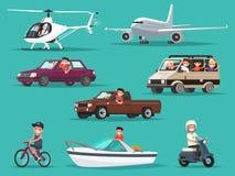 Ensemble de personnes et de véhicules Avions, hélicoptères, voitures, vélomoteur, illustration de vecteur