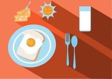 Ensemble de petit déjeuner, longue ombre, illustrations Image stock