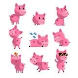 Ensemble de petit porc mignon dans différentes actions Sommeil, dansant, marchant, se reposer, sautant Personnage de dessin animé Images libres de droits