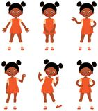 Ensemble de petite fille d'Afro-américain d'enfant dans le sho différent de poses Photo stock