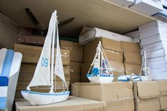 Ensemble de petits bateaux modèles colorés Photos libres de droits