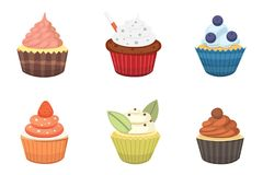 Ensemble de petits gâteaux et de petits pains mignons de vecteur Petit gâteau coloré d'isolement pour la conception d'affiche de  Photographie stock libre de droits