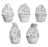Ensemble de petits gâteaux tirés par la main de vecteur Calibre pour la carte postale, web design, menu, couverture, la publicité Images stock