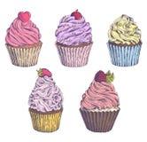 Ensemble de petits gâteaux tirés par la main de vecteur Calibre pour la carte postale, web design, menu, couverture, la publicité Photographie stock