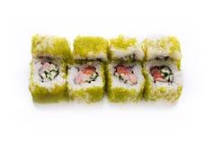 Ensemble de petits pains colorés de crevette d'isolement sur le blanc, plan rapproché Images stock
