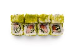 Ensemble de petits pains colorés de crevette d'isolement sur le blanc, plan rapproché Photographie stock