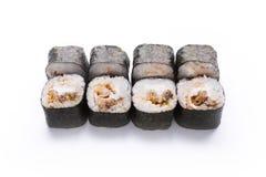 Ensemble de petits pains d'anguille d'isolement sur le blanc, plan rapproché Photographie stock libre de droits