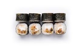 Ensemble de petits pains d'anguille d'isolement sur le blanc, plan rapproché Images stock
