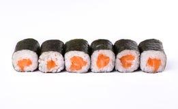 Ensemble de petits pains de saumons d'isolement sur le blanc, plan rapproché Photographie stock