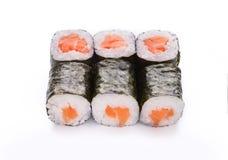 Ensemble de petits pains de saumons d'isolement sur le blanc, plan rapproché Image libre de droits