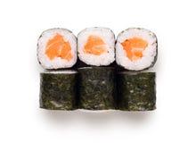 Ensemble de petits pains de saumons d'isolement sur le blanc, plan rapproché Photographie stock libre de droits