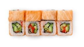 Ensemble de petits pains de saumons d'isolement sur le blanc, plan rapproché, vue supérieure Photos libres de droits