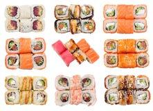 Ensemble de petits pains frais de sushi d'isolement Photos libres de droits