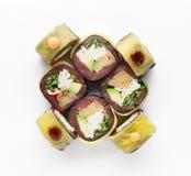 Ensemble de petits pains de poissons d'isolement sur le blanc, plan rapproché Photographie stock