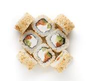 Ensemble de petits pains de poissons d'isolement sur le blanc, plan rapproché Image libre de droits