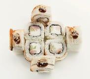 Ensemble de petits pains de poissons d'isolement sur le blanc, plan rapproché Images stock
