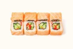 Ensemble de petits pains de saumons d'isolement sur le blanc, plan rapproché Photo libre de droits