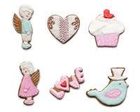 Ensemble de peu de différents biscuits savoureux le jour de valentines. Photos libres de droits