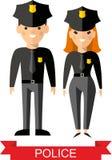 Ensemble de peuples de police de vecteur, de policier et de femme de police Images stock
