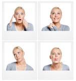 Ensemble de photos de femme montrant différentes émotions image stock