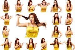 Ensemble de photos de jolie jeune femme avec différents gestes Image stock