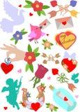 Ensemble de photos et de symboles romantiques dans la conception plate Vecteur illustration de vecteur