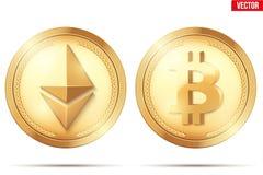 Ensemble de pièce d'or de Cryptocurrency illustration libre de droits
