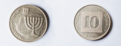 Ensemble de pièce de monnaie d'aluminium-bronze de 10 agorot de l'Israël Images stock