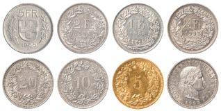 Ensemble de pièce de monnaie de franc suisse Photographie stock libre de droits