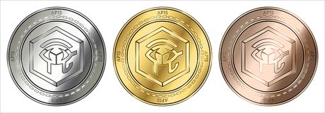 Ensemble de pièce de monnaie d'API d'API illustration de vecteur